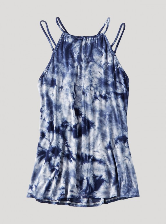 Blue Tie and Dye Jersey Top
