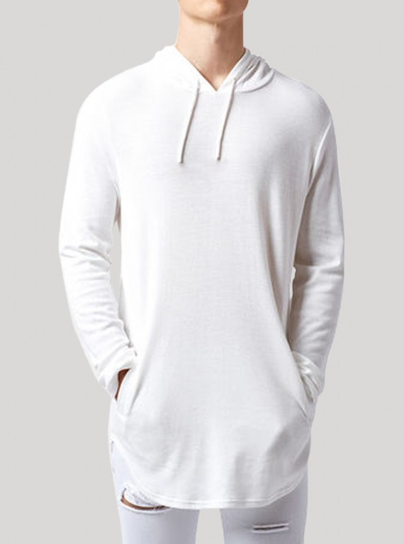 White long line Hooded Sweat Shirt