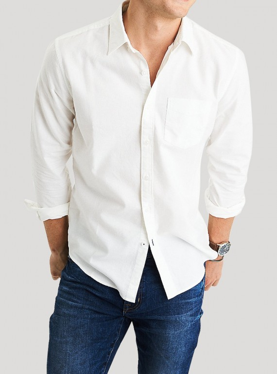 White Poplin Long Sleeve Shirt