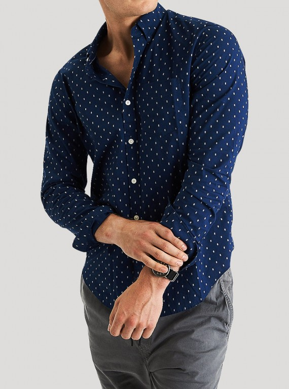 Navy Polka Print Long sleeve Shirt