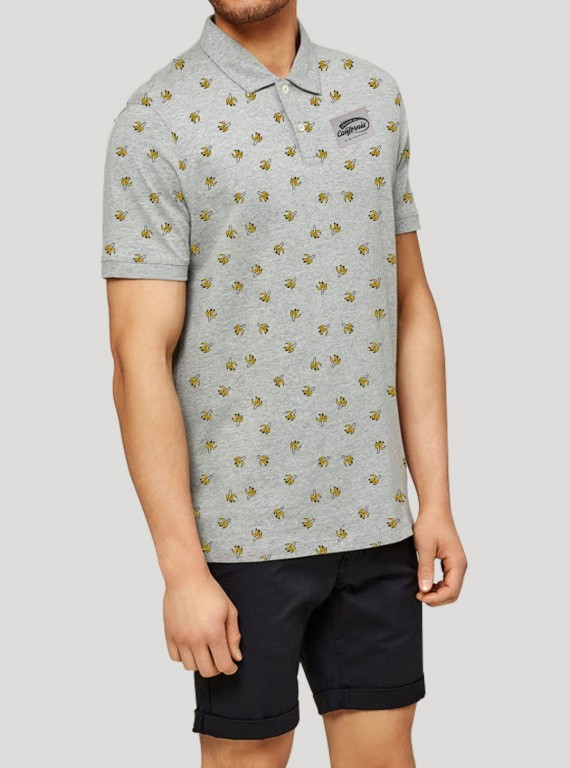 Grey Melange Banana Print Polo