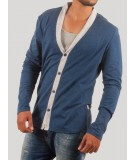 Blue Shawl Collar TShirt with Inner Vest