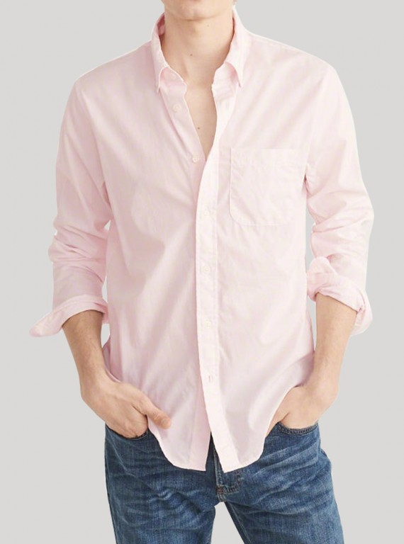 Pink Poplin Long Sleeve Shirt