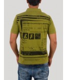 Printed Self Collar Green Polo TShirt