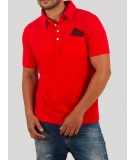 Printed Red Self Collar Polo TShirt
