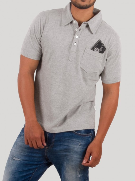 Grey Melange Printed Polo