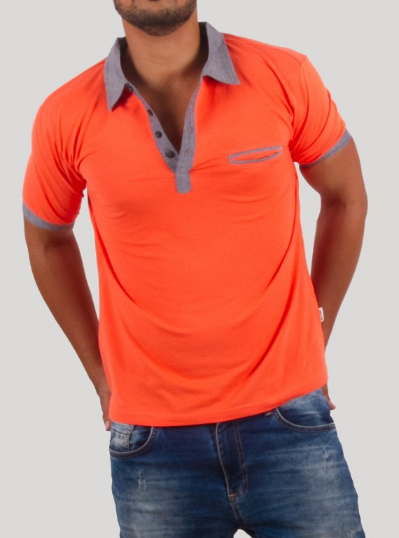 Orange Button Polo TShirt