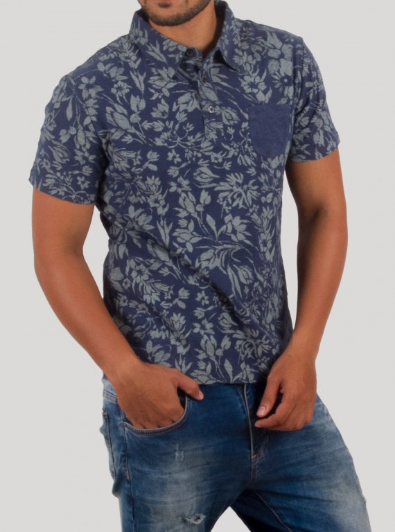 Floral Self Collar Polo TShirt