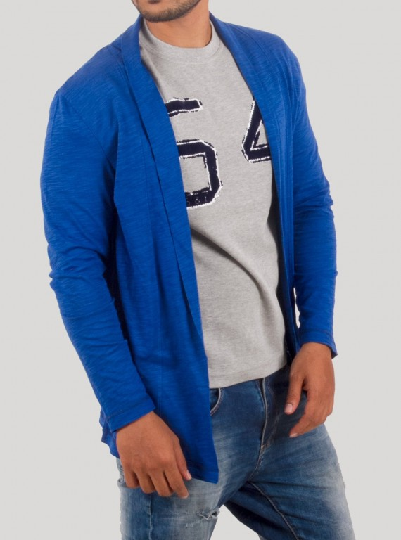 Royal Slub Jersey Cardigan With TShirt
