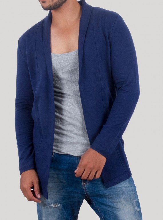 Blue Fleece  Knit Cardigan With Inner
