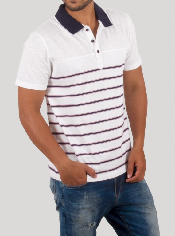 White Polo with Blue Stripe TShirt