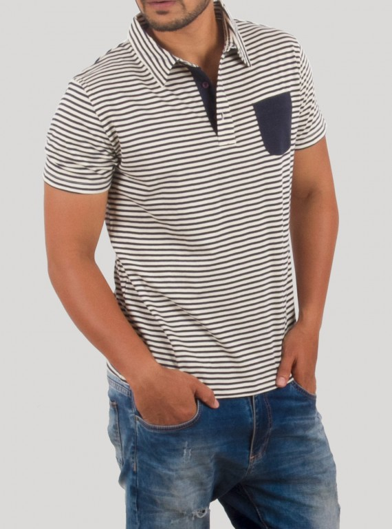 Grey Stripe Self Collar Polo TShirt