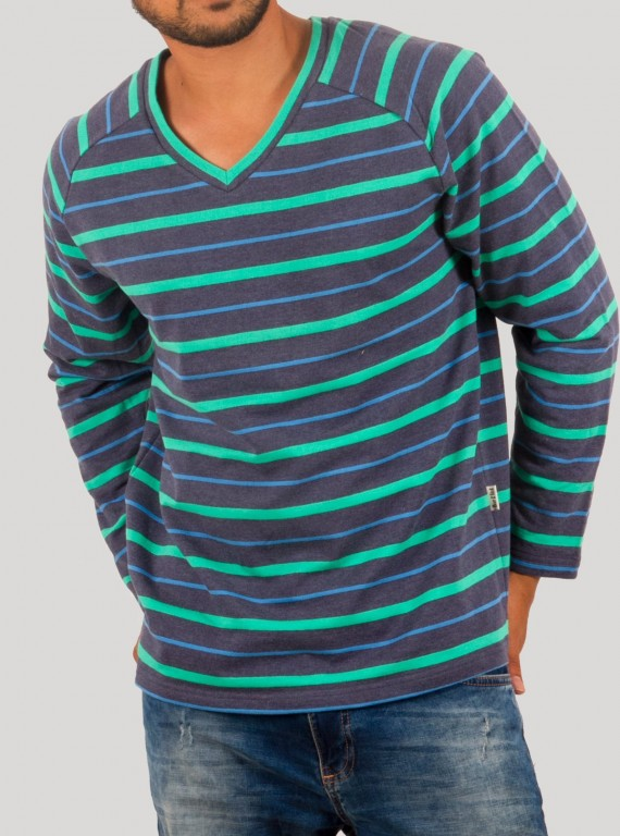 Green Stripped Raglon Contrast SweatShirt