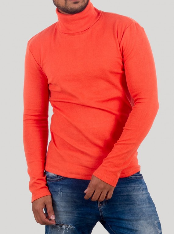 Orange Turtle Neck Sweat Shirt