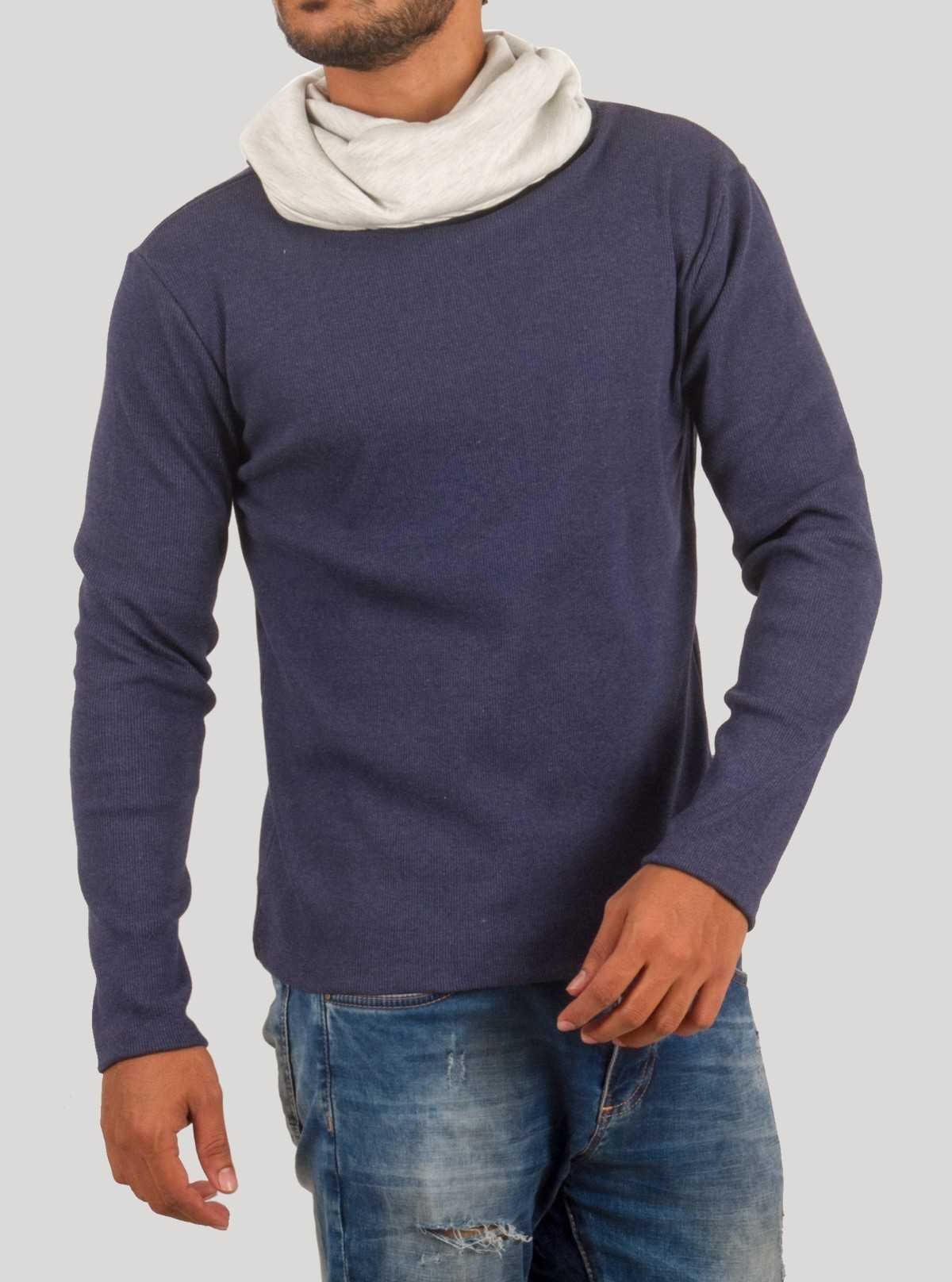 Blue Melange Roll Neck Hoody