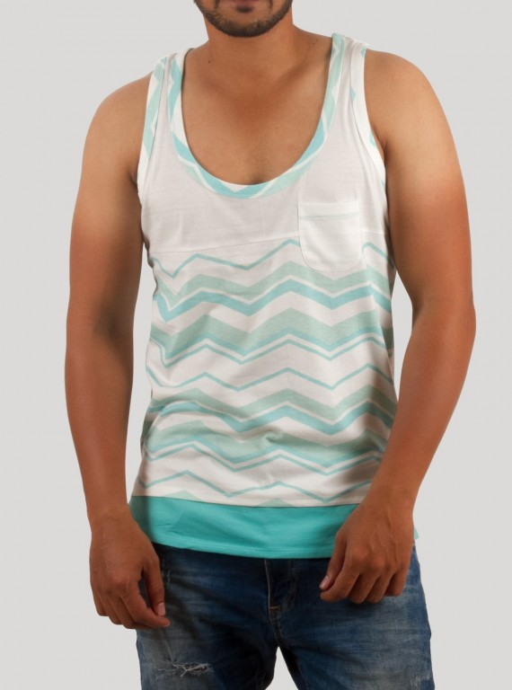 Green Graphic Print Sleeveless TShirt