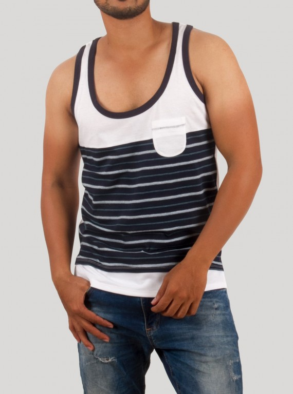 Navy Jacuard Sleeveless TShirt