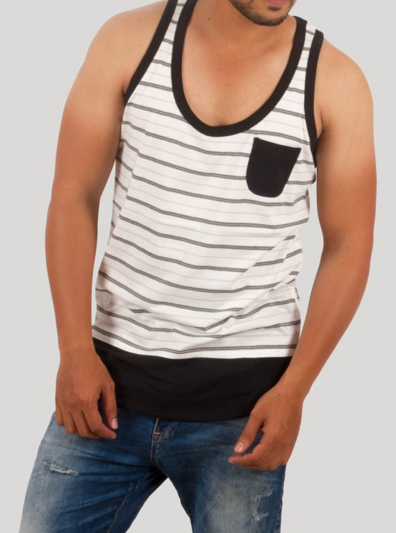 Black Graphic Sleeveless TShirt