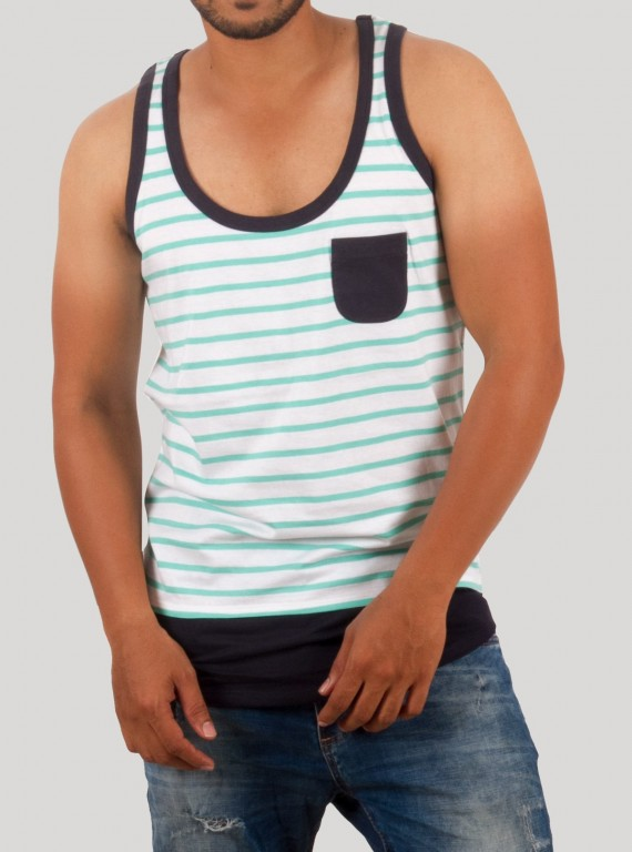Blue Stripe Sleeveless TShirt