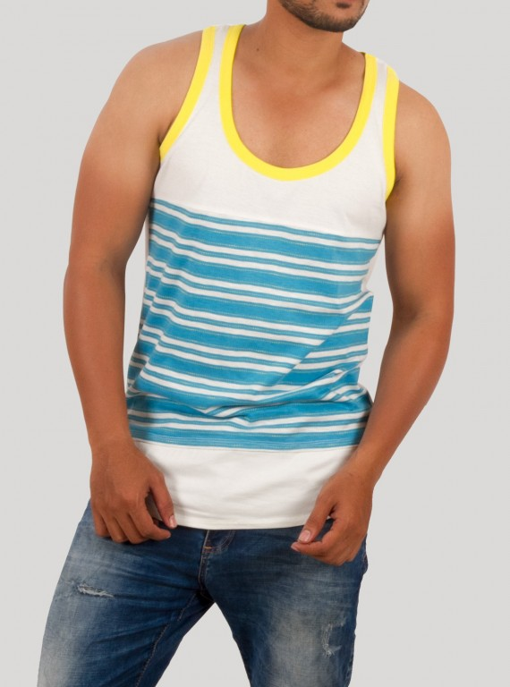 Yellow Contrast Sleeveless TShirt