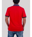 Red Anchor Print Collar Polo TShirt