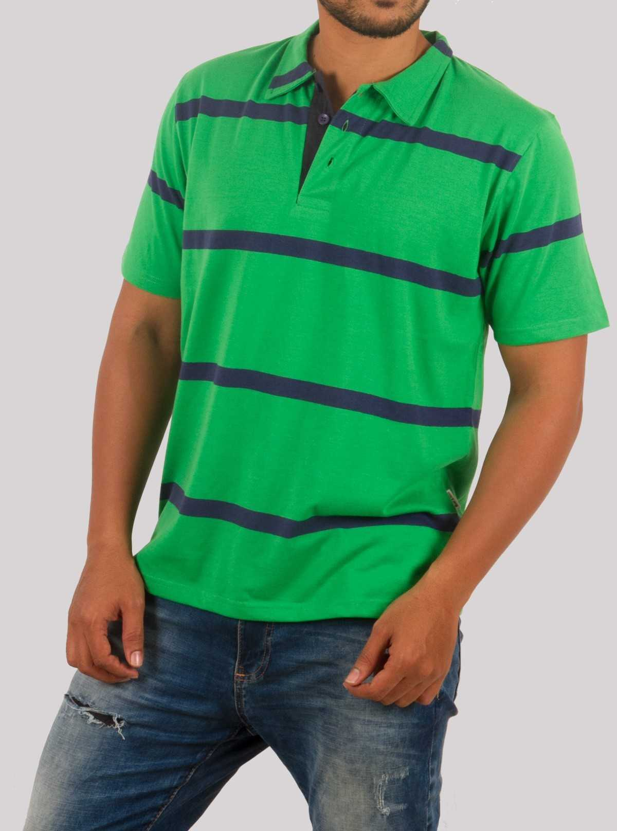 Green Stripe Polo TShirt