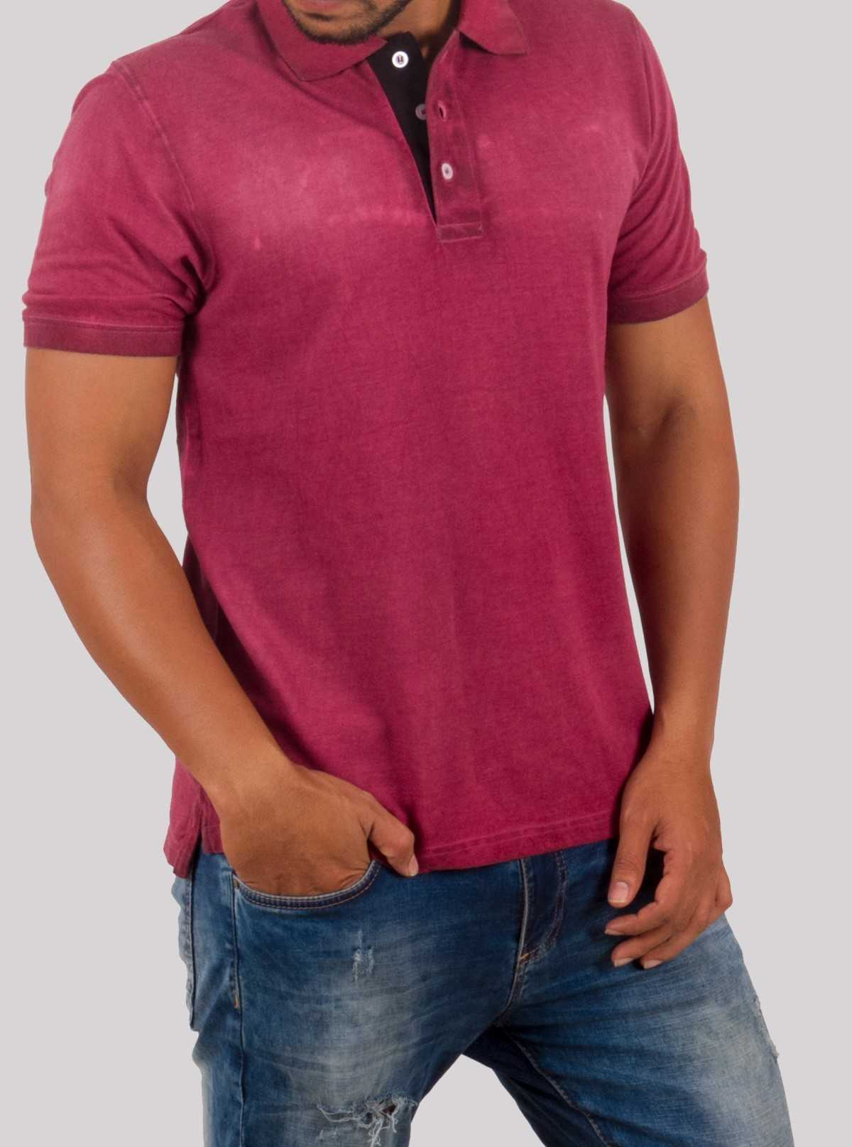 Burgundy Garment Dyed Polo