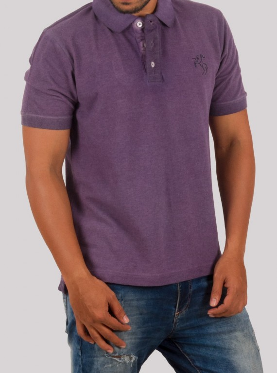 Purple Garment Dyed Polo
