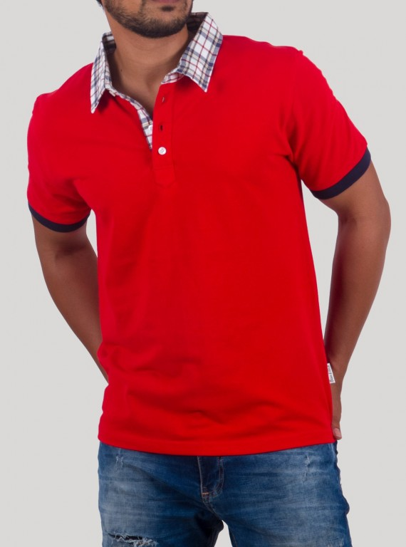 Red Stripe Collar Polo Pique TShirt