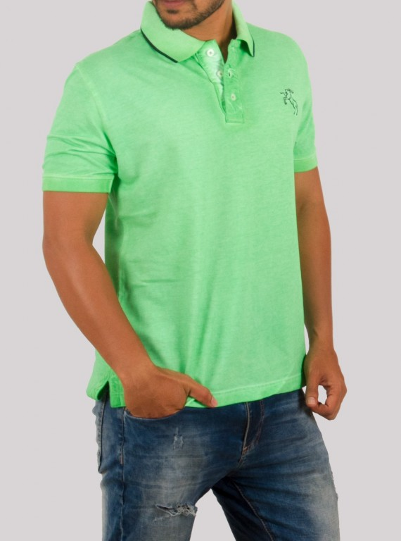 Green Garment Dyed Polo TShirt