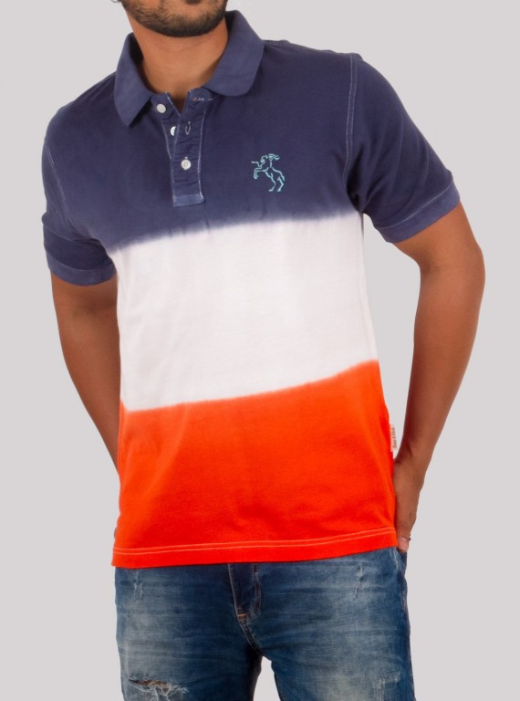 Orange Tie Dye Polo TShirt