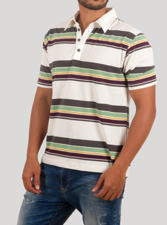 Green Stripped Polo TShirt