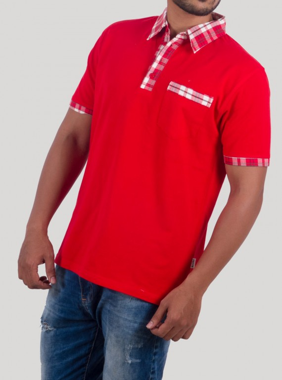 Red Twill Polo TShirt