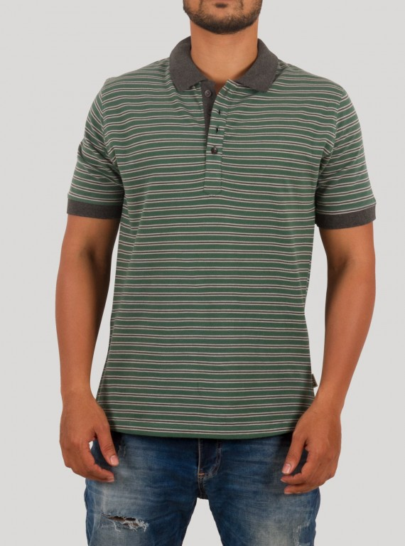 Green solid stripe Polo TShirt