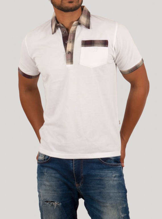Brown Drill Collar Polo TShirt