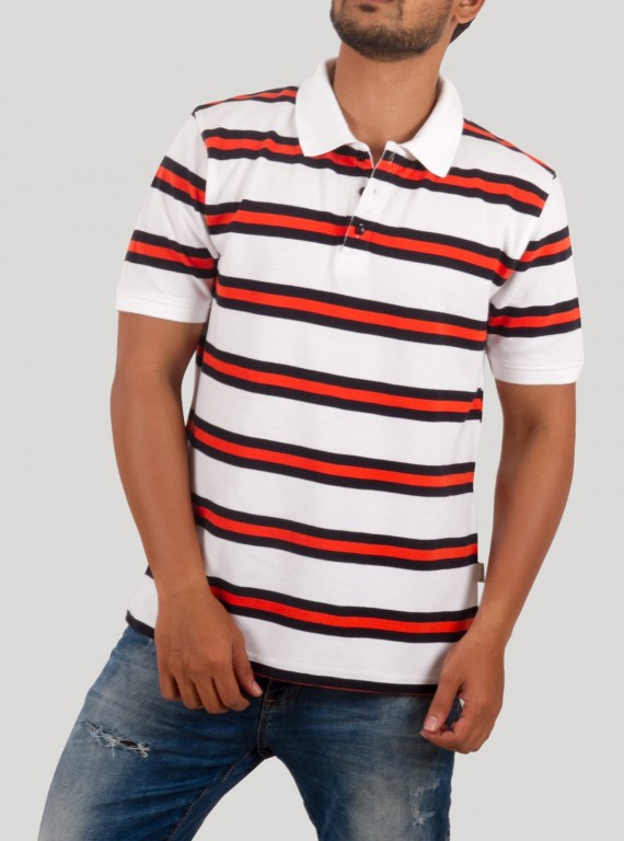 White Striped Polo TShirt