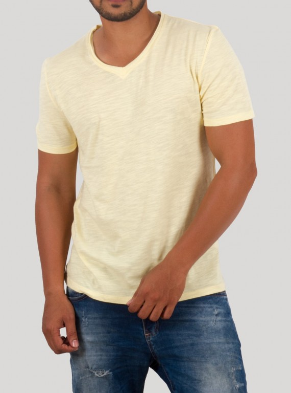 Light Yellow Slub Jersey TShirt