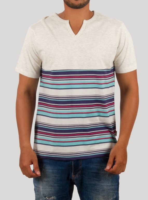Cut & Sew Stripe Split Neck TShirt