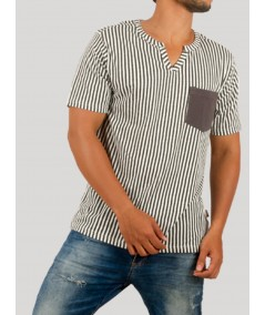 Vertical Stripe Split Neck TShirt