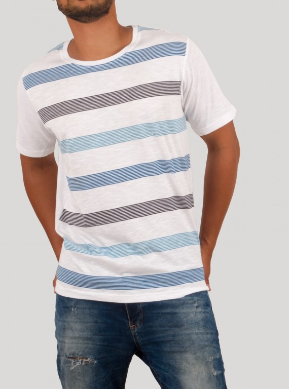 Blue Lined Round Neck TShirt