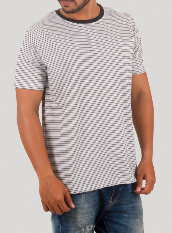 White Stripe Round Neck TShirt