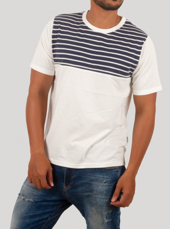 White Cut & Sew Stripe Round Neck TShirt