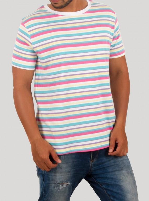 Multi Stripe Round Neck TShirt