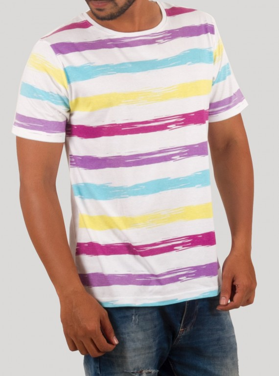 Multi Colour Print Round Neck TShirt