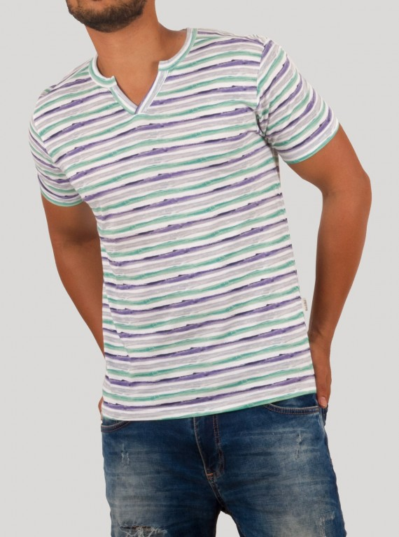 Printed Stripe Split Neck TShirt