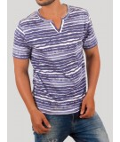 Blue Water Stripe Split Neck TShirt