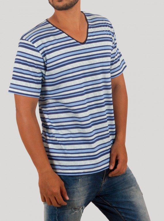 Blue Stripe V - Neck TShirt