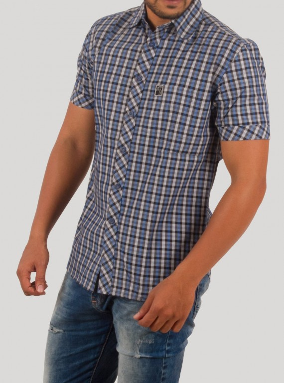 Slim Fit Checkered Blue Shirt