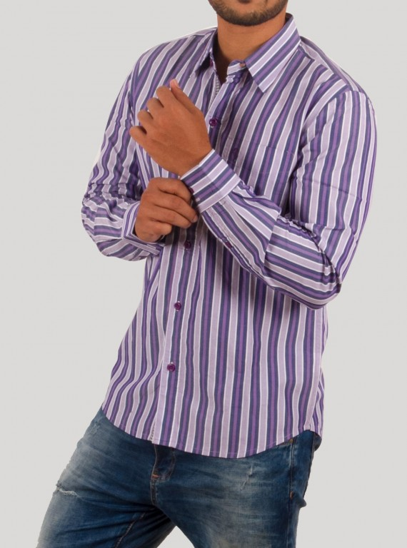 Purple Stripe Casual Shirt