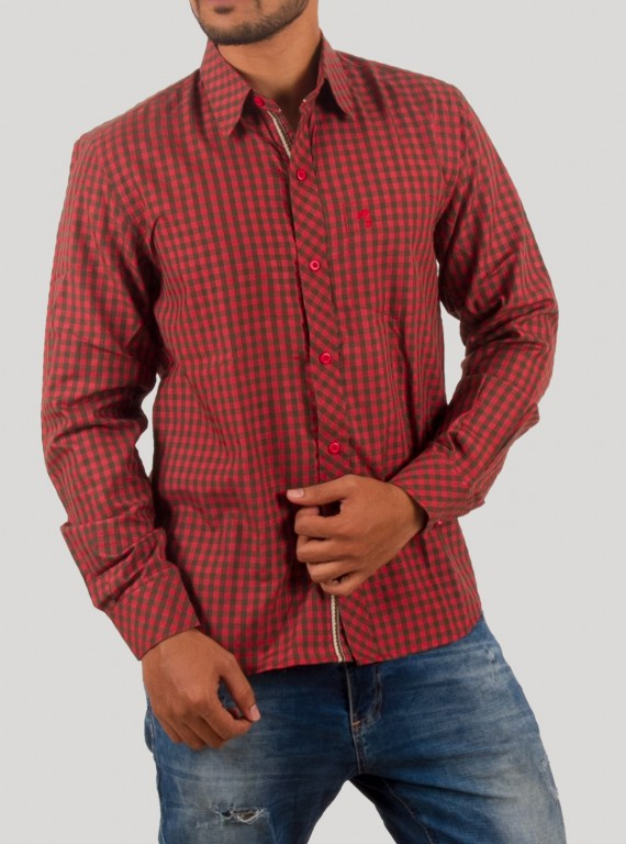 Deep Red Casual Shirt
